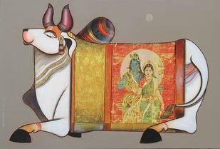 Nandishwara by Ashok Rathod, Decorative Painting, Acrylic on Canvas, Brown color
