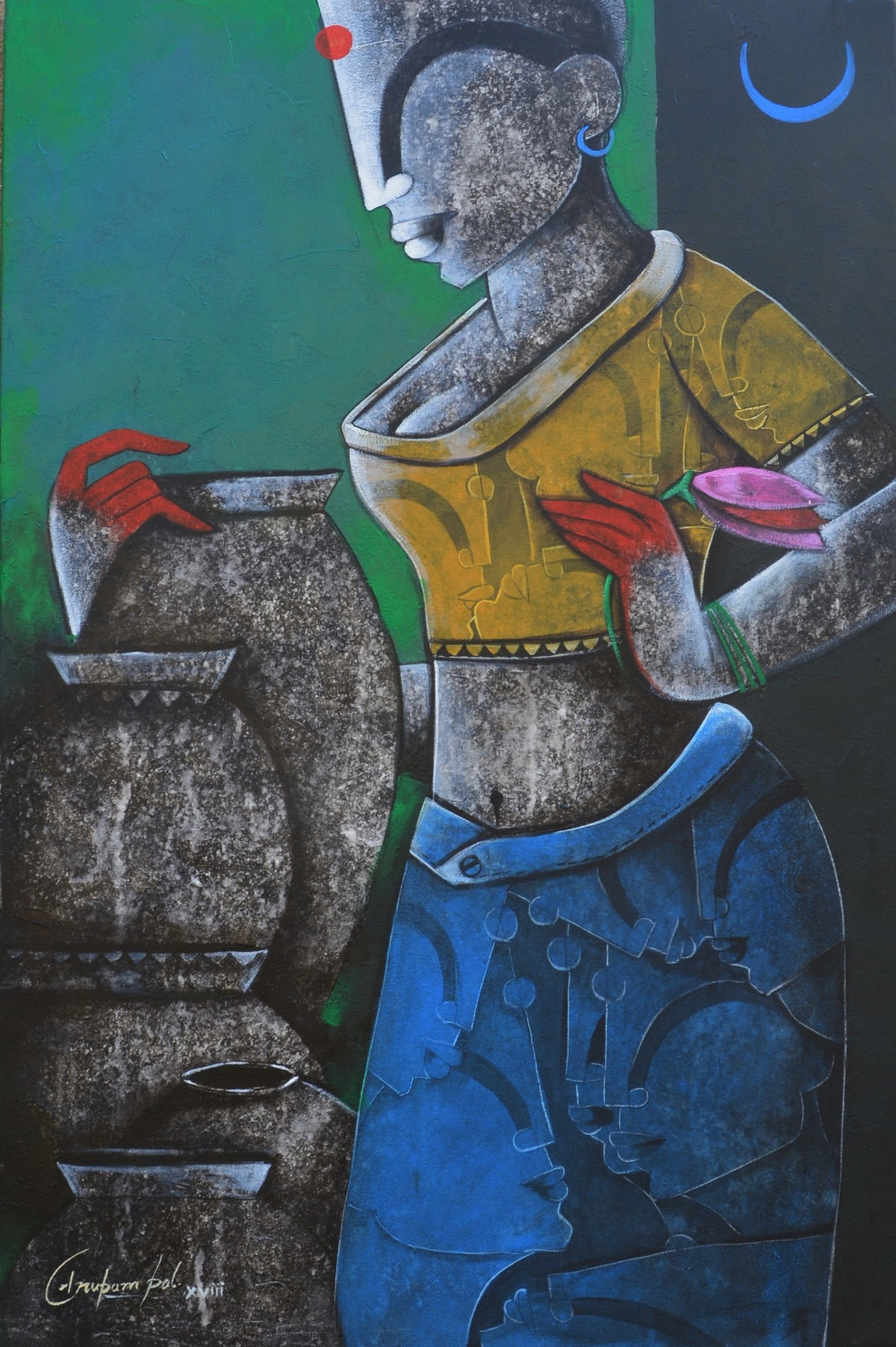 Lady with pot Digital Print by anupam pal,Decorative