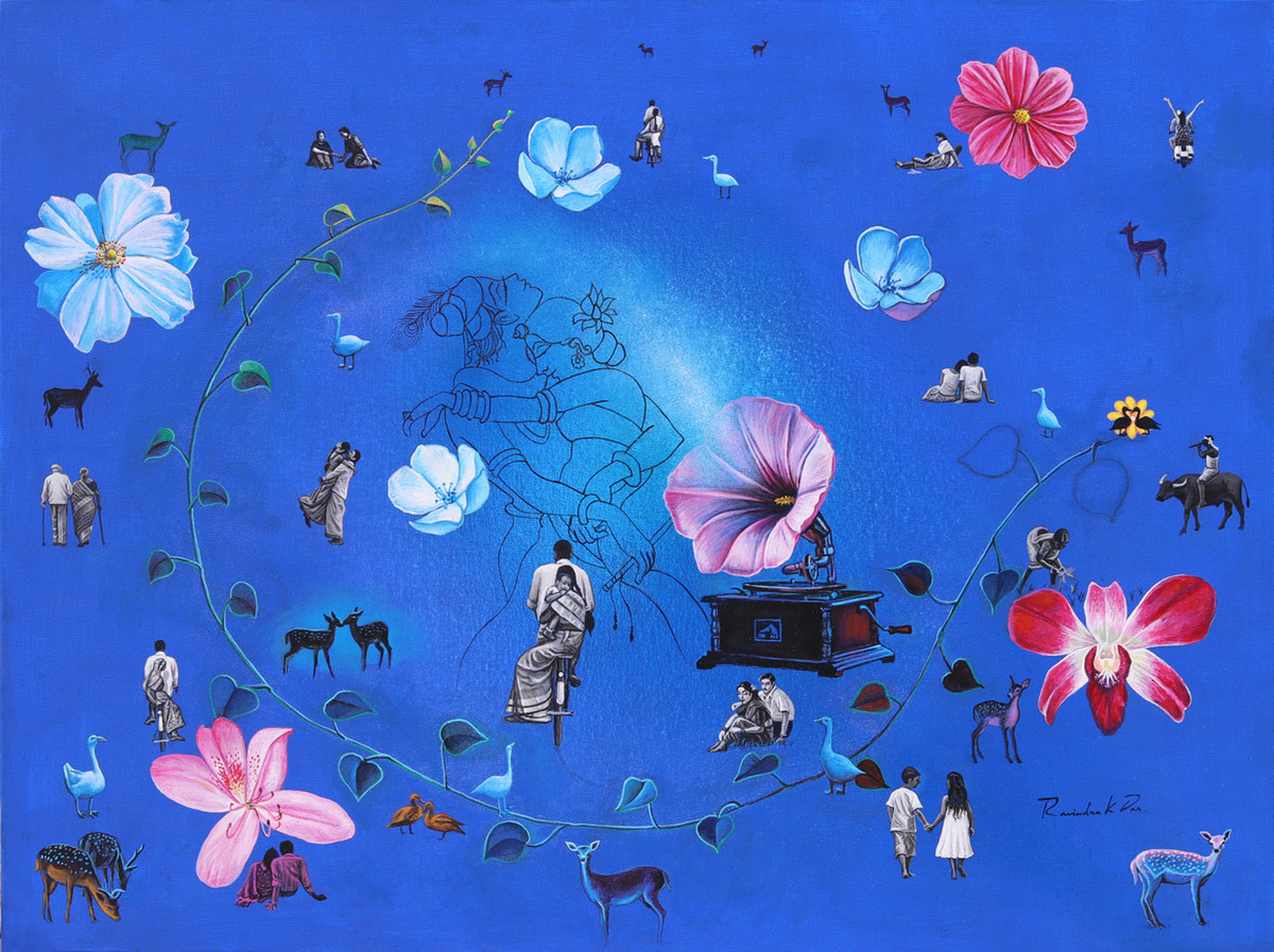 dream world by rawindra kumar das, Fantasy Painting, Acrylic on Canvas, Blue color