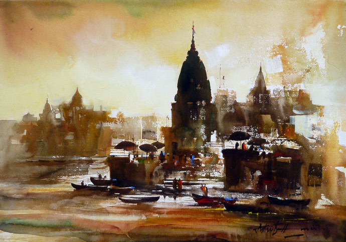 Untitled by Ashif Hossain, Impressionism Painting, Acrylic on Canvas, Brown color