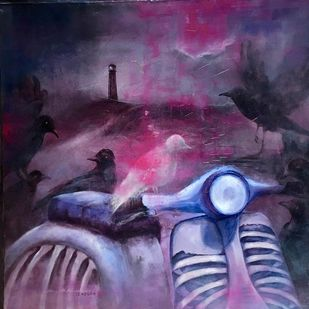 Untitled by Sujith Nambiar, Expressionism Painting, Oil on Canvas, Blue color