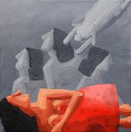 Droupadi - Ekal Sekal by Rupatan Naskar, Geometrical Painting, Acrylic on Canvas, Brown color