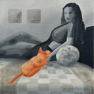 Droupadi - Ekal Sekal by Rupatan Naskar, Geometrical Painting, Acrylic on Canvas, Gray color