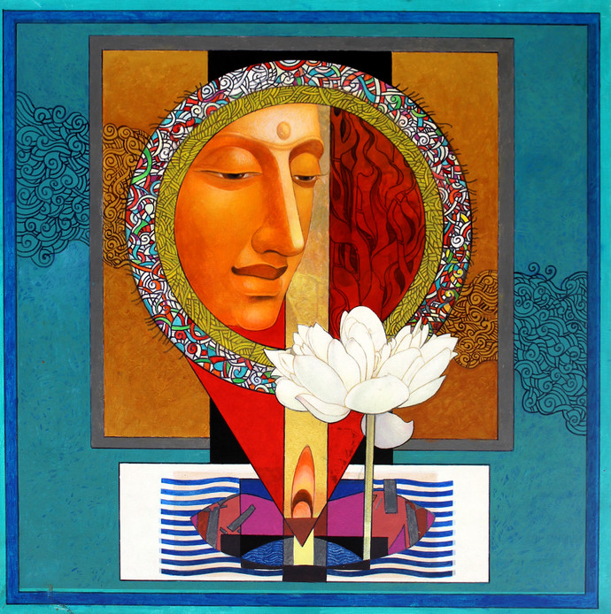 Enlightened Buddha 1 by Deepankar Majumdar, Expressionism Painting, Acrylic on Canvas, Brown color