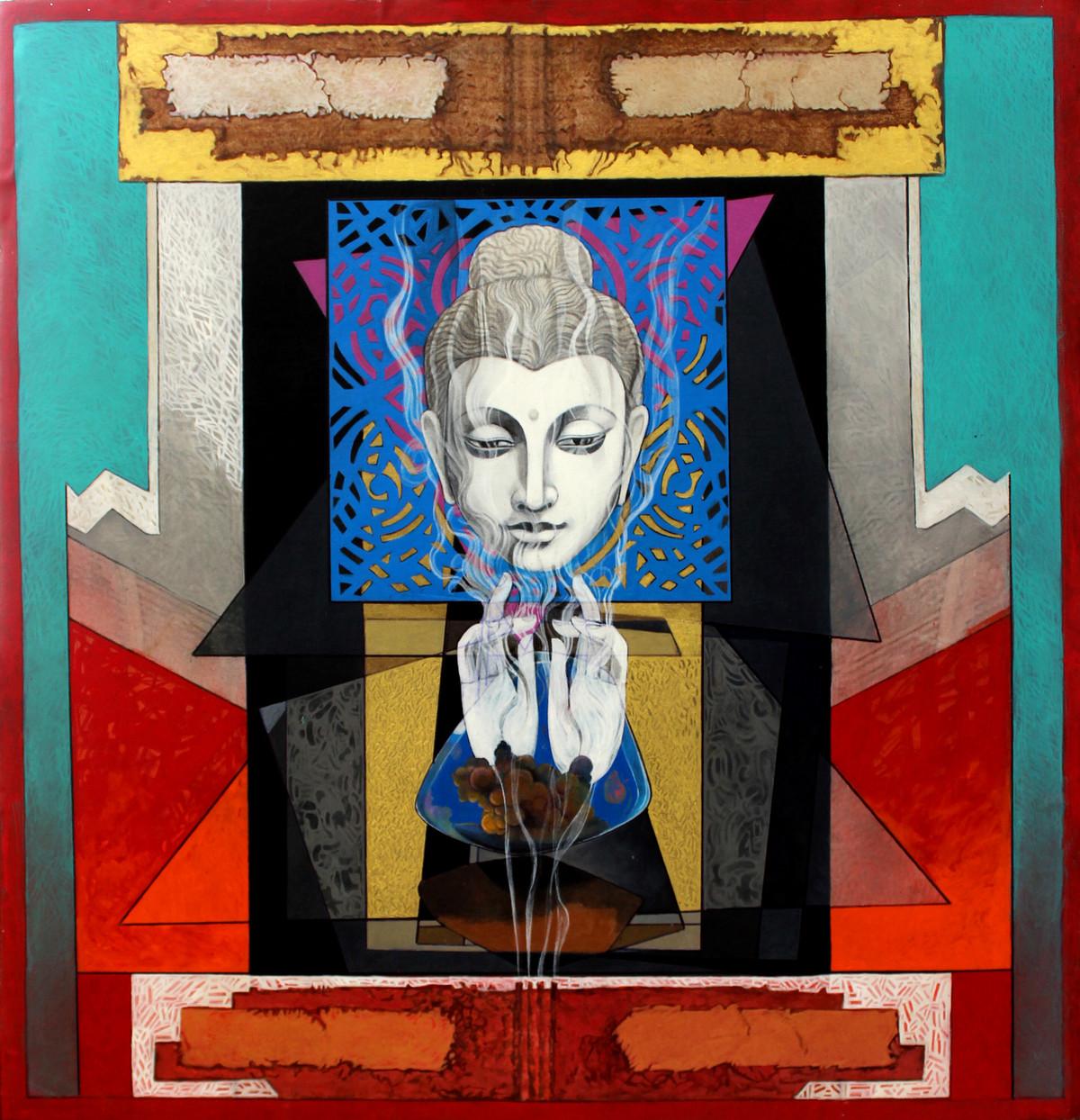 Pensive Buddha 1 by Deepankar Majumdar, Expressionism Painting, Acrylic on Canvas, Brown color