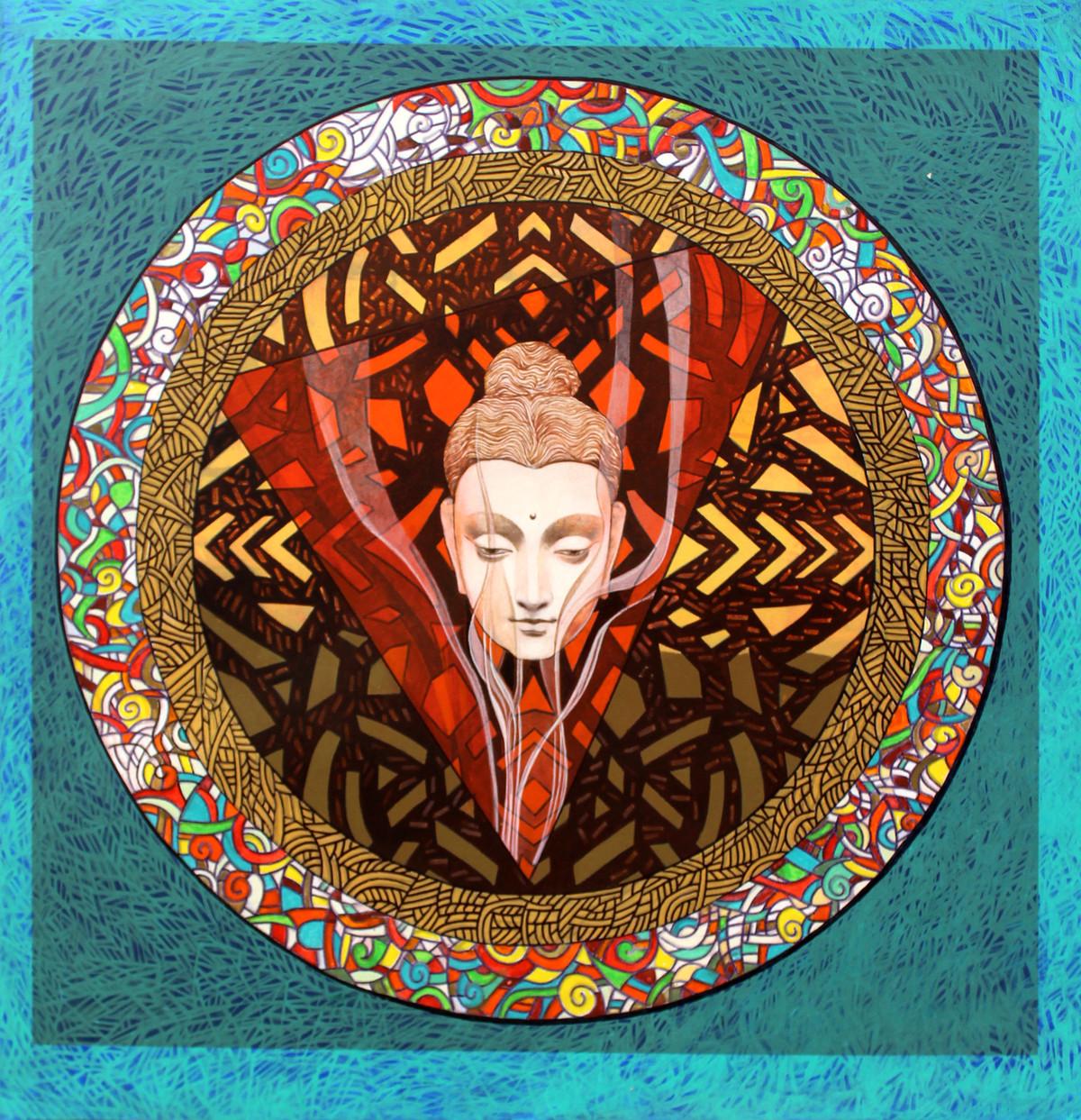 Buddha – The Circle of Life by Deepankar Majumdar, Expressionism Painting, Acrylic on Canvas,