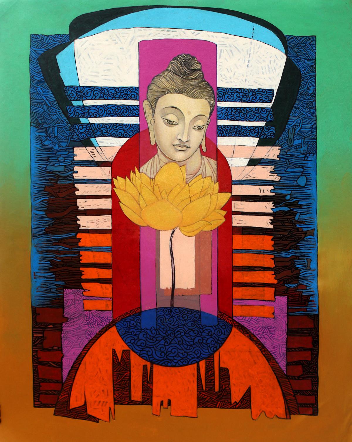 Enlightened Buddha 2 by Deepankar Majumdar, Expressionism Painting, Acrylic on Canvas, Brown color