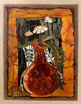 Flower Vase 2 by Deepankar Majumdar, Expressionism Painting, Acrylic on Canvas, Brown color