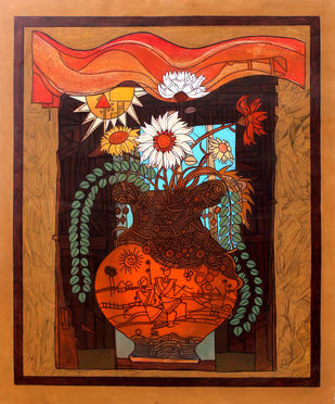 Flower Vase 1 by Deepankar Majumdar, Expressionism Painting, Acrylic on Canvas, Brown color