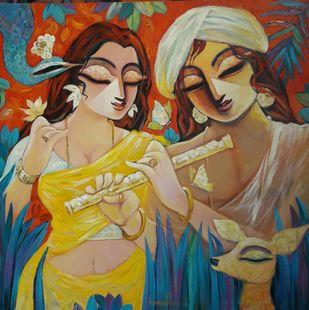 DEVOTION by Subrata Ghosh, Expressionism Painting, Acrylic on Canvas, Brown color