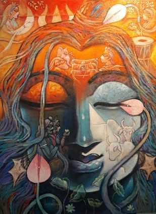 SHIVA by Subrata Ghosh, Expressionism Painting, Mixed Media on Canvas, Brown color