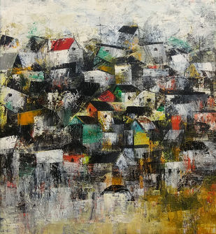 The Old Village by M Singh, Abstract Painting, Acrylic on Canvas, Brown color