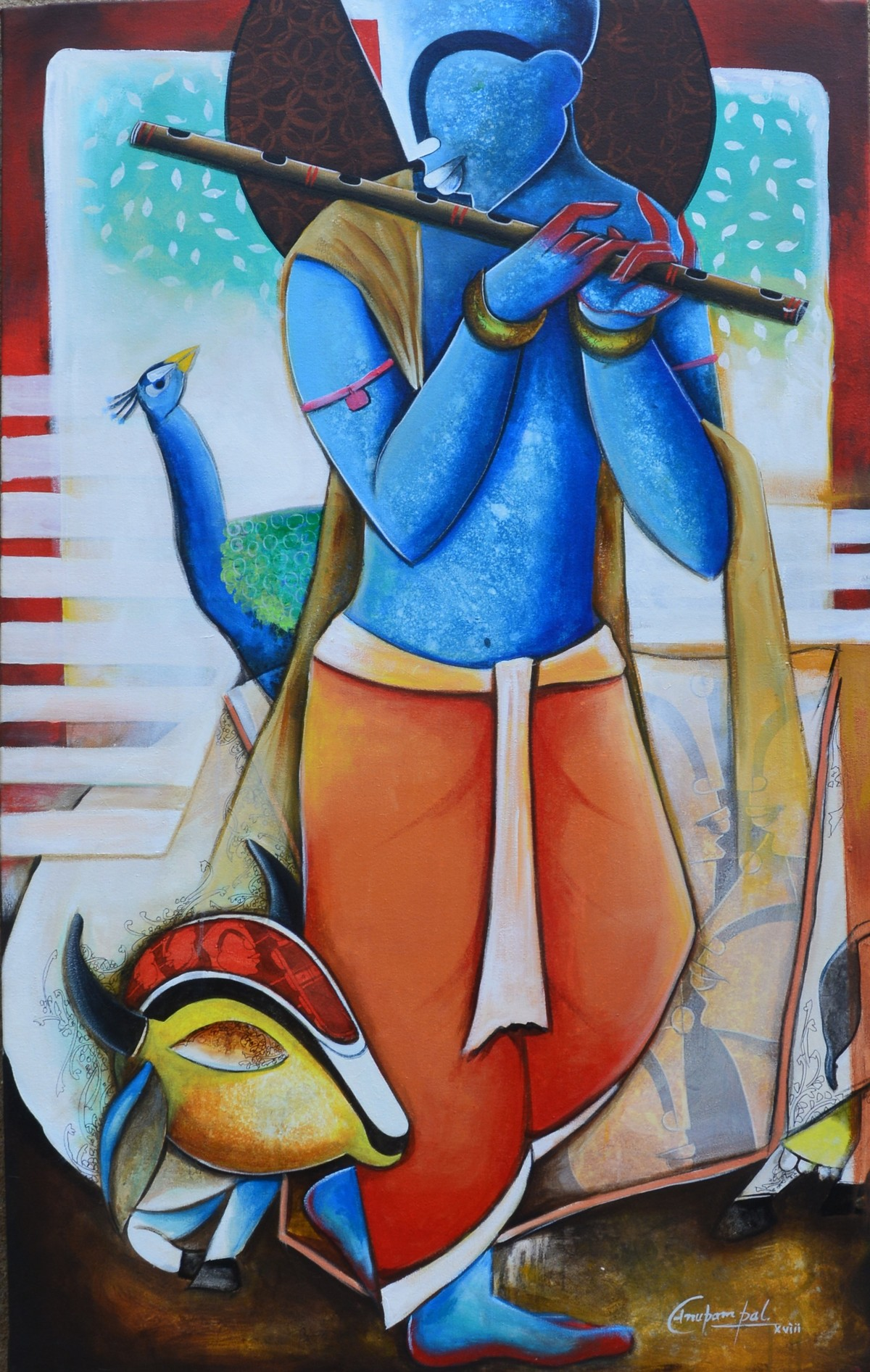 the Mesmerizing Tunes by anupam pal, Traditional Painting, Acrylic on Canvas, Brown color