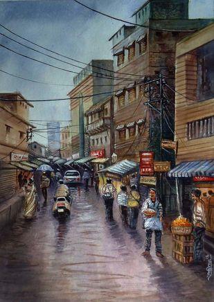 MARKET by Ram Kumar Maheshwari, Impressionism Painting, Watercolor on Paper, Brown color