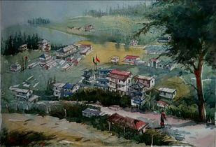 Valley by Krishnendu Halder, Impressionism Painting, Watercolor on Paper, Green color