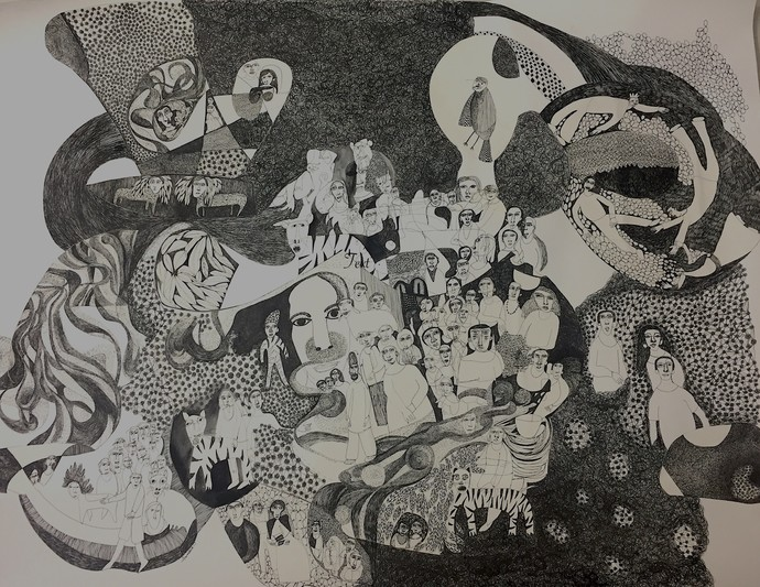 Interactions with Nature by Akanksha khanna, Illustration Drawing, Pen & Ink on Paper, Gray color
