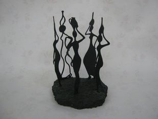 Gossip by Jignesh Jariwala, Art Deco Sculpture | 3D, Metal, Gray color