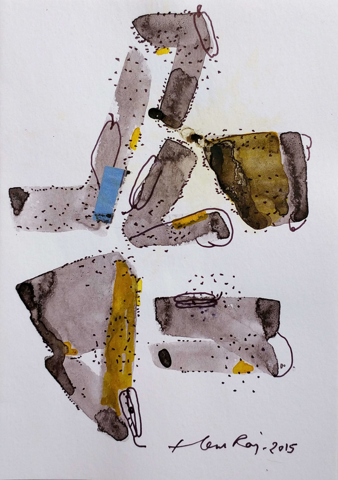 diary 21 by Hem Raj, Abstract Painting, Mixed Media on Paper, Gray color