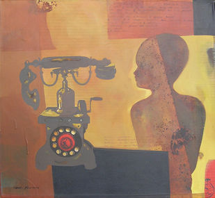 Untitled by Subir Dey, Expressionism Painting, Acrylic on Canvas, Brown color