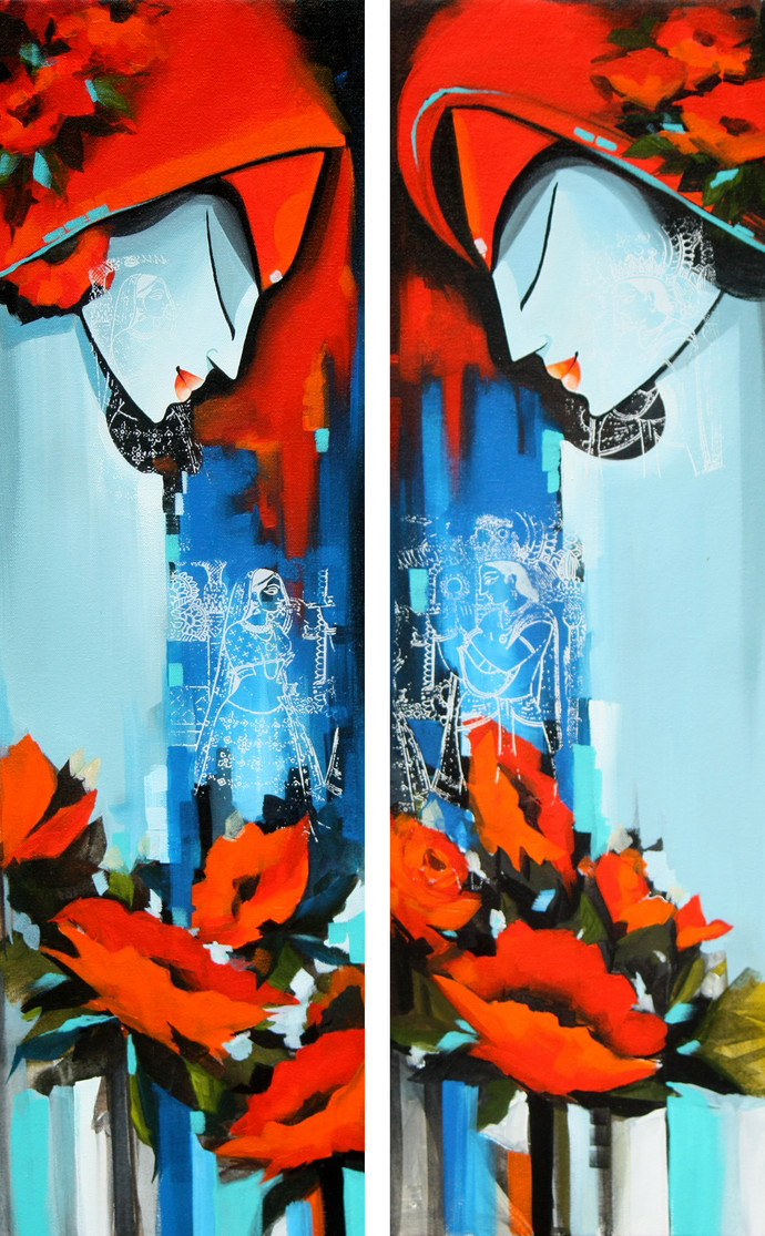 love in nature (sets of 2) by pradeesh k raman, Decorative Painting, Acrylic on Canvas, Cyan color