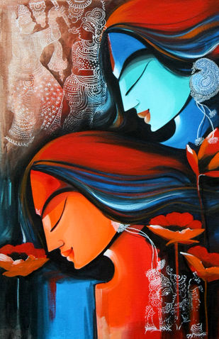 love remix by pradeesh k raman, Decorative Painting, Acrylic on Canvas, Brown color
