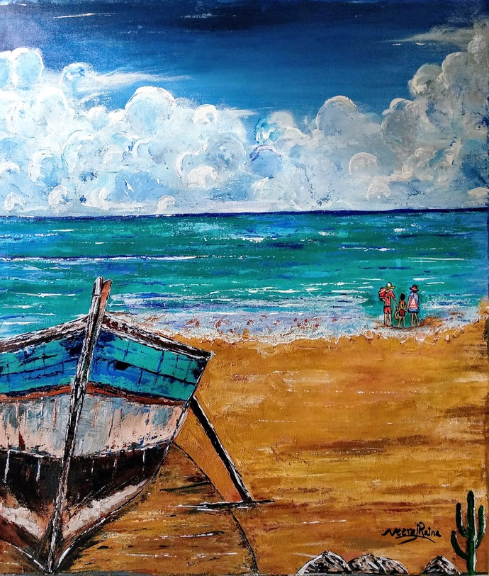 Resting Boat and the Beach Holidays Digital Print by Neeraj Raina,Impressionism