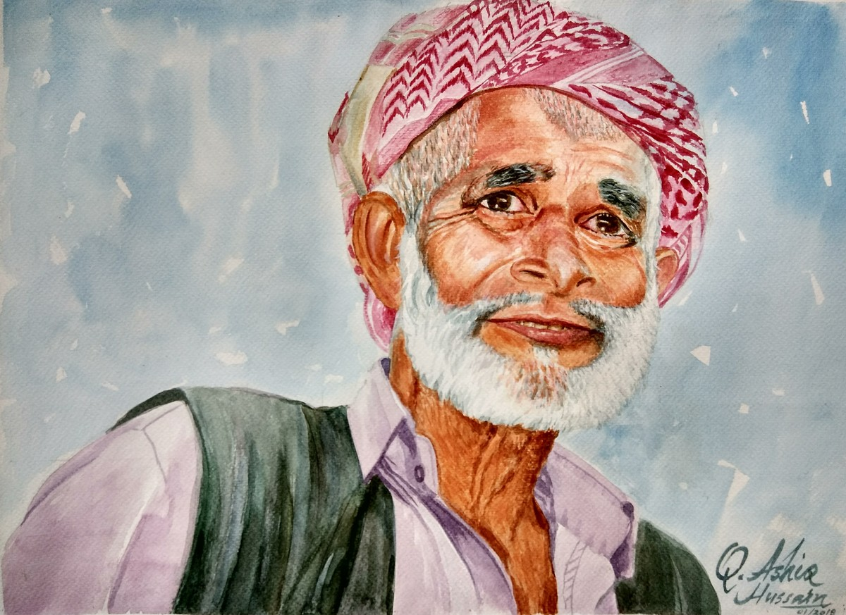 Happiness In Poverty by Qazi Ashiq Hussain, Expressionism Painting, Watercolor on Paper, Gray color