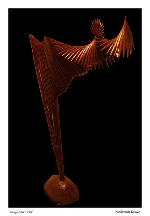 Hanger by Nandkumar Yashwant Kulaye, Art Deco Sculpture | 3D, Wood, Black color