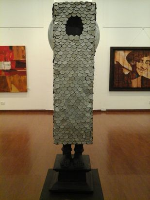 Untitled by Nandkumar Yashwant Kulaye, Art Deco Sculpture   3D, Wood , Scrap and Metal, Brown color