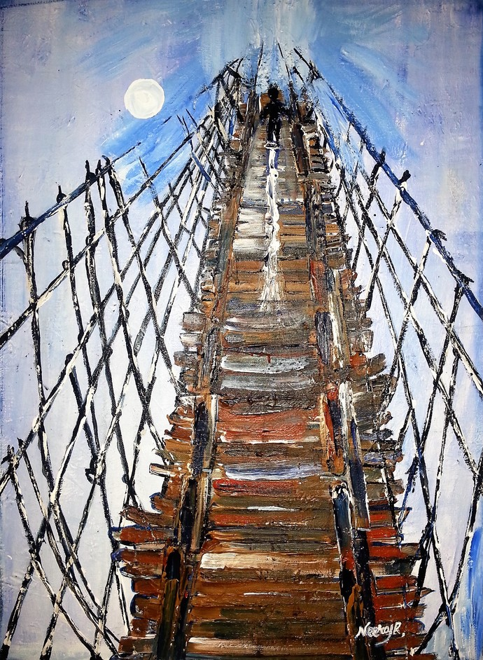Life Is Like Walking Through A Stringy Bridge by Neeraj Raina, Expressionism Painting, Acrylic on Board, Brown color