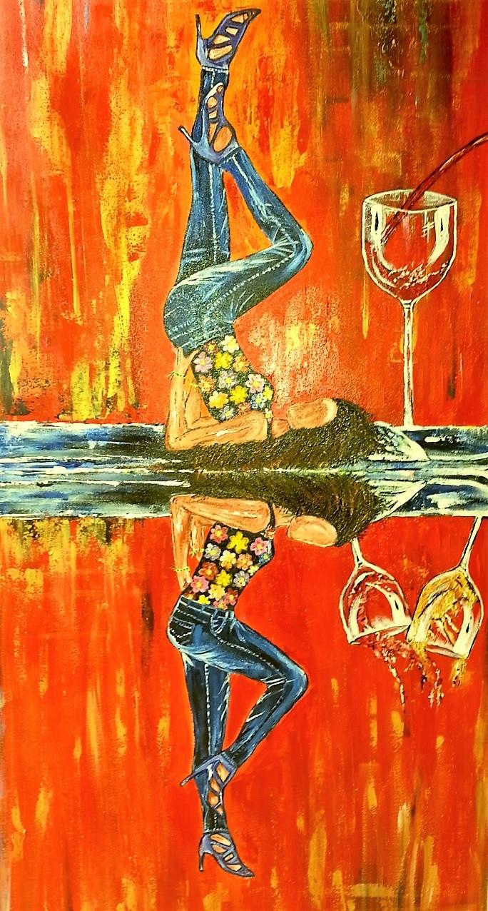 Double W Temptation by Neeraj Raina, Pop Art Painting, Acrylic on Canvas, Orange color