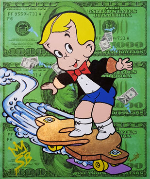 Richie Rich rolling by Sanuj Birla, Pop Art Painting, Acrylic on Canvas, Green color