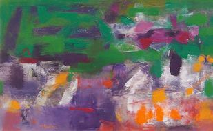 Untitled by K M Adimoolam, Abstract Painting, Oil on Linen, Green color