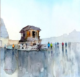 Hampi chariot by Kiran sherkhane , Impressionism Painting, Watercolor on Paper, Cyan color