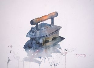charcoal iron box by Kiran sherkhane , Impressionism Painting, Watercolor on Paper, Gray color