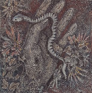 Serpentine by Anujit Roy, Expressionism Drawing, Mixed Media, Gray color