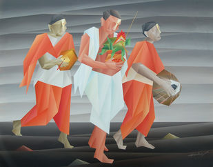 Kalasha Yatra by Nirakar Chowdhury, Geometrical Painting, Acrylic on Canvas, Gray color