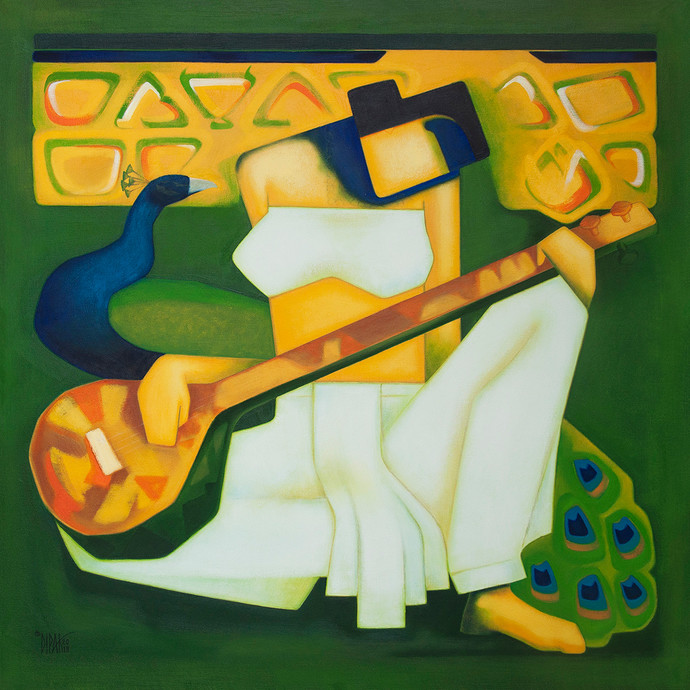 Saraswati by Dipak Asole, Geometrical Painting, Oil on Canvas, Green color