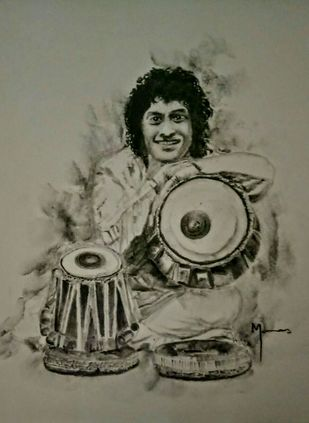 Emotion through Music by MANAS DIXIT, Illustration Drawing, Charcoal on Paper, Brown color