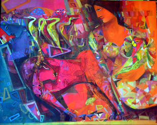 Frame of life by Madan Lal, Expressionism Painting, Acrylic on Canvas, Brown color