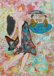 A confidential meeting by Abhisek Dey, Fantasy Painting, Acrylic on Canvas, Beige color