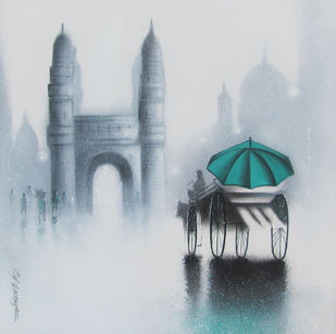 Charminar by Somnath Bothe, Impressionism Painting, Charcoal on Canvas, Gray color