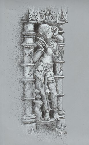 woman sculpture 1 by Narendra Chauhan, Illustration Painting, Pen on Paper, Gray color