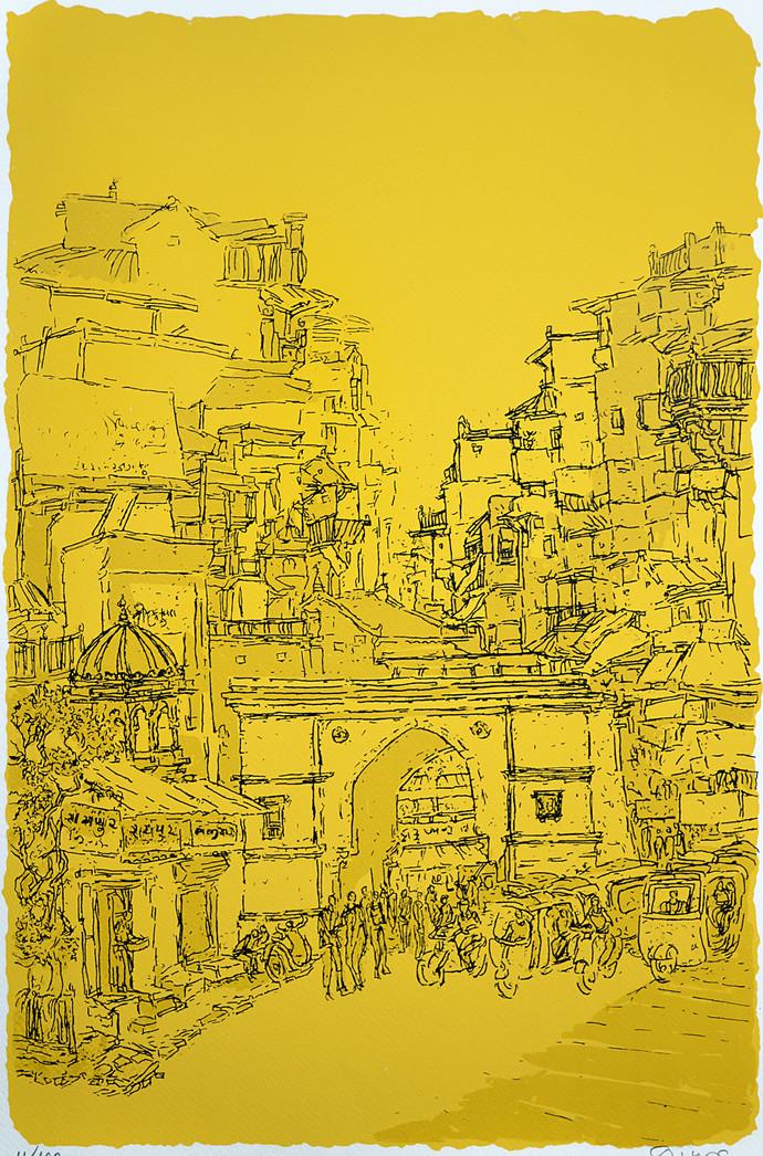 Raipur Darwaza by Vrindavan Solanki, Illustration Printmaking, Serigraph on Paper, Yellow color