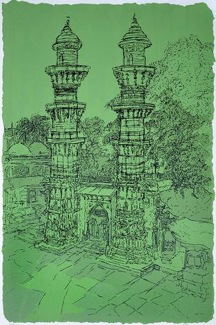 Jhulta Minaras by Vrindavan Solanki, Illustration Printmaking, Serigraph on Paper, Green color