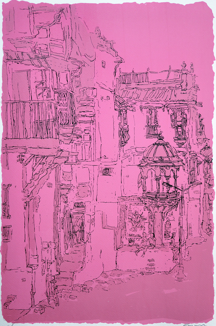 Old City - I by Vrindavan Solanki, Illustration Printmaking, Serigraph on Paper, Purple color