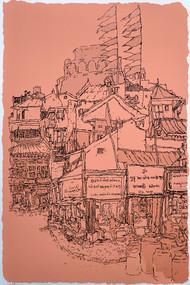 Manek Chowk by Vrindavan Solanki, Illustration Printmaking, Serigraph on Paper, Brown color