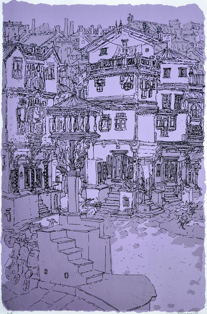 Old City - II by Vrindavan Solanki, Illustration Printmaking, Serigraph on Paper, Blue color