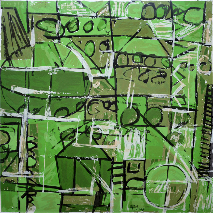 Untitled by Ajay Choudhury, Abstract Printmaking, Serigraph on Paper, Green color