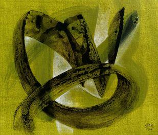 Tandav-01 by Shirish Deshpande, Abstract Painting, Acrylic on Canvas, Green color